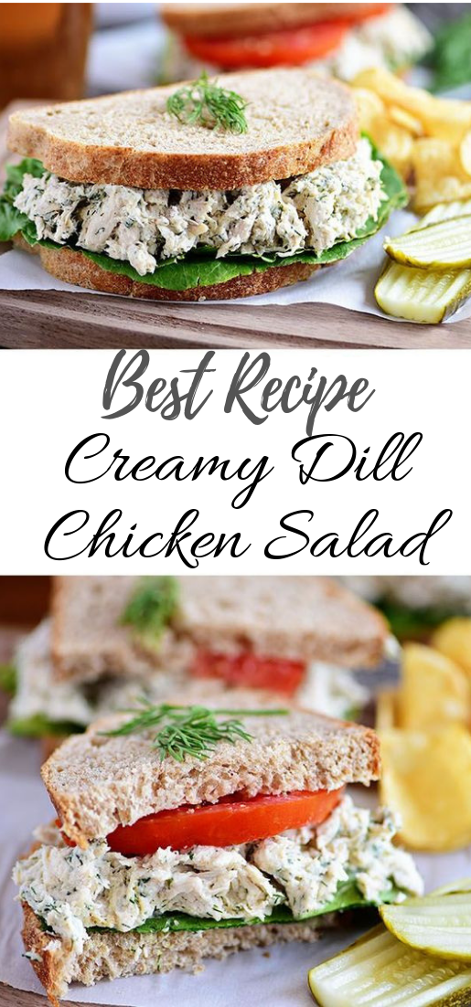 Creamy Dill Chicken Salad #vegan #recipevegetarian