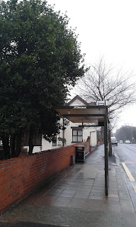 The new bus shelter on Edgeley Road in Stockport