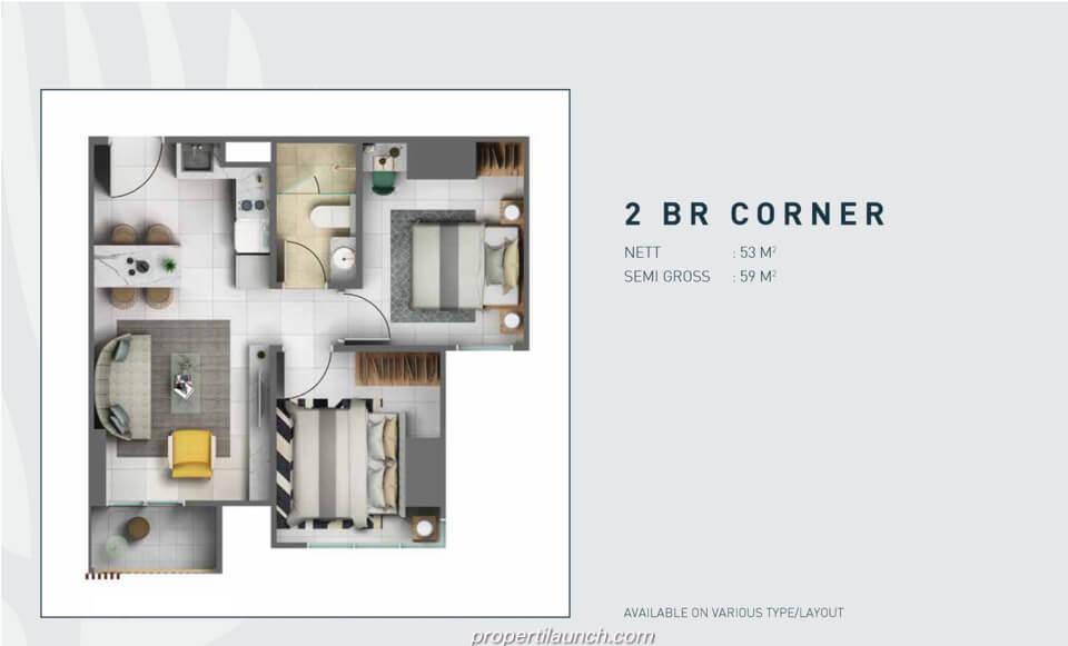 Tipe 2 Bedroom Corner