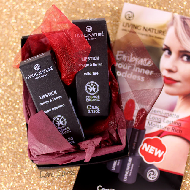 Living Nature Wild Fire & Pure Passion Lipstick Swatches & Review