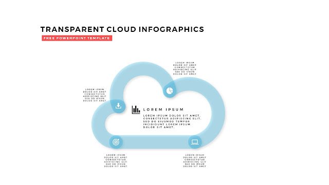 Free Infographic PowerPoint Design Elements with Transparent Clouds in White Background Slide 4