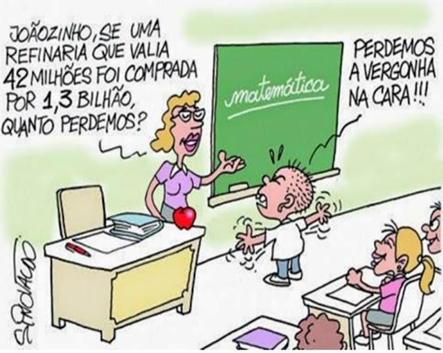 Pergunta a professora: Joãozinho, se uma refinaria de petróleo que valia 42 milhões foi comprada por 1 milhão e trezentos mil dólares, quanto perdemos? Resposta do aluno: Perdemos a vergonha na cara!