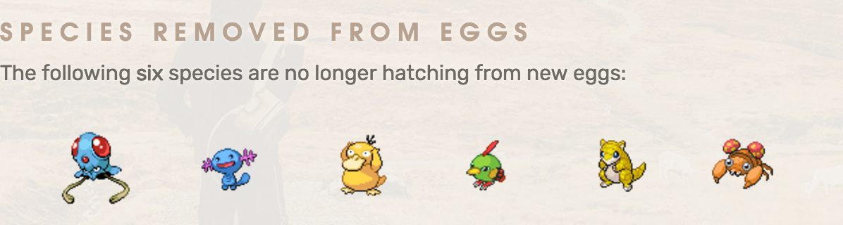 Seis pokémon ya no salen en huevos de Pokémon GO