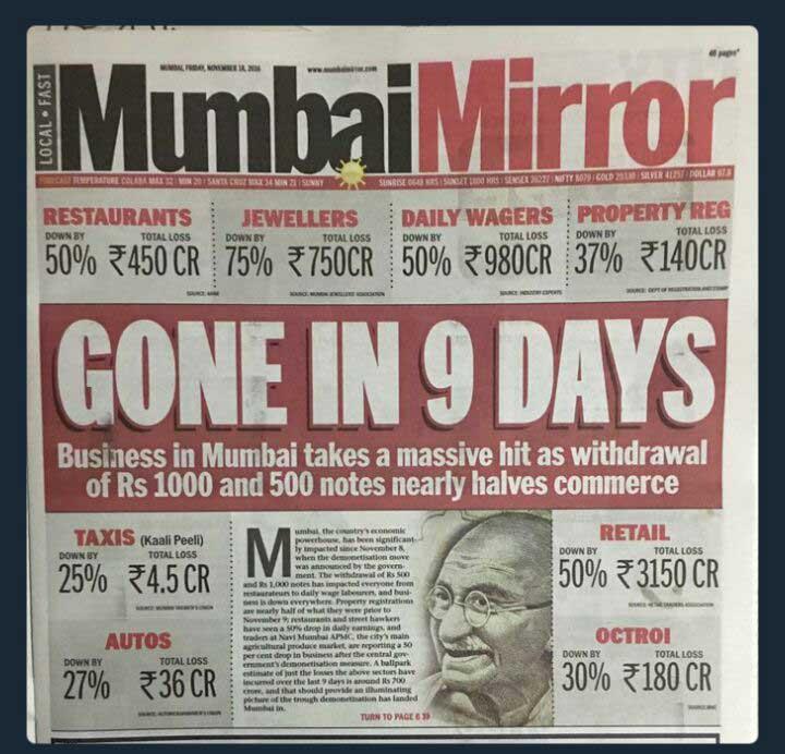 देश की व्यावसायिक राजधानी मुंबई की ही बात करें तो, पिछले 9 दिनों में रेस्तराँ में नुकसान करीब 450 करोड़ का है