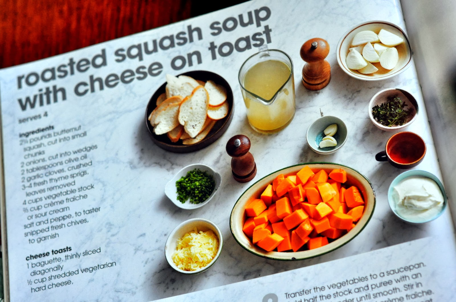 Roasted Squash Soup with Cheese on Toast from Step by Step Vegetarian: The Perfect Guide to Meat-Free Meals | Taste As You Go