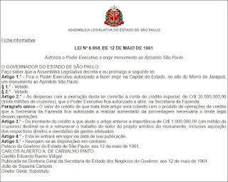 Lei 6060, que abriu crédito de 30 milhões de cruzeiros para a construção do monumento ao Apóstolo Paulo no Pico do Jaraguá