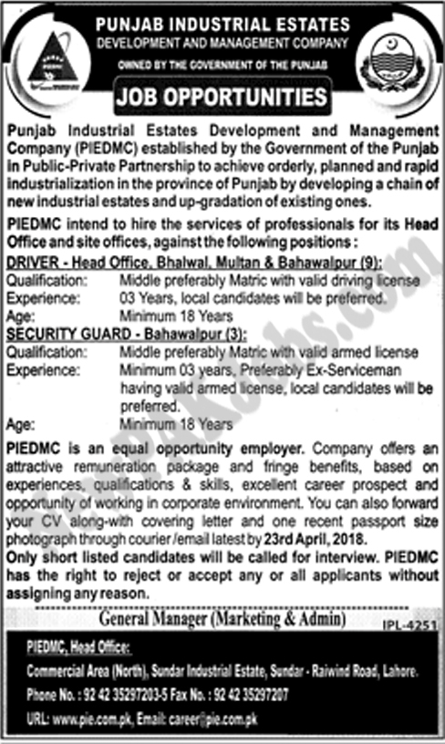 Vacancies announced in Punjab Industrial Estate Development & Management Company