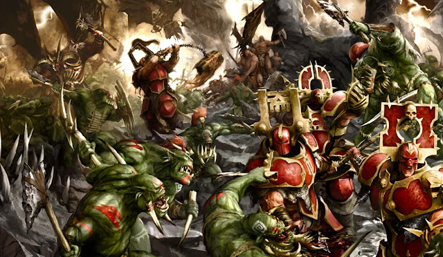 Warhammer age of sigmar khorne bloodbound vs bonesplitterz artwork battle ilustration fantasy 1
