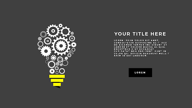 Gears and Light bulb Diagram Free PowerPoint Template Dark Background