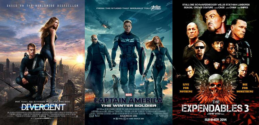 movies | Divergent, Captain America: The Winter Soldier, The Expendables 3