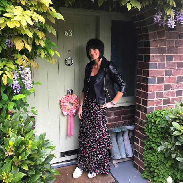 my midlife fashion, baukjen everyday biker jacket, and other stories cupro tank top, marks and spencer disty print frilled a line maxi skirt, golden goose superstar low top leather trainers