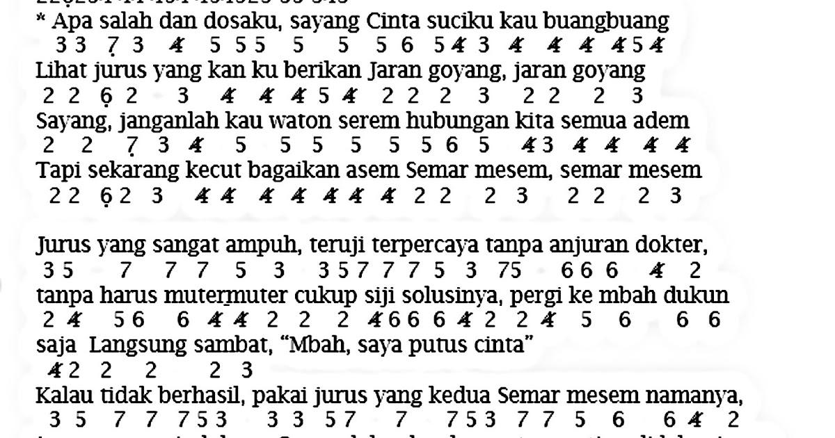 Not angka jaran goyang not angka lagu indonesia stopboris Image collections