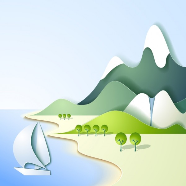 MOUNTAIN AND THE SEA LANDSCAPE VECTOR FREE DOWNLOAD