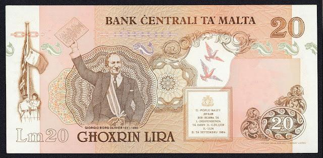 Malta money currency 20 Maltese Lira banknote 1989 Giorgio Borg Olivier