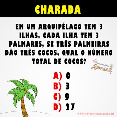 Em um arquipélago de ilhas tem 3 ilhas, cada ilha tem 3 palmares....