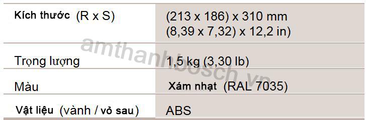 Đặc tính cơ học loa vành LBC 3470/00