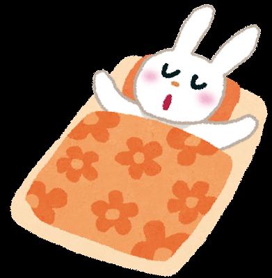お昼寝をしているウサギのイラスト