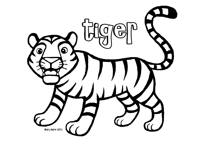 Tiger Coloring Page Mewarnai Harimau