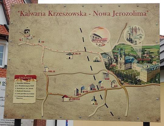 Mapa Kalwarii Krzeszowskiej.