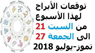 توقعات الأبراج لهذا الأسبوع من السبت 21 الى الجمعة 27 تموز-يوليو 2018