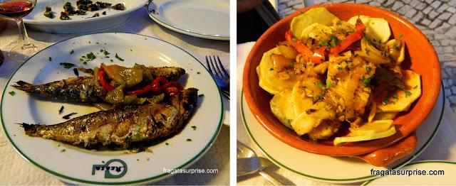 Sardinhas e bacalhau servidos no Restaurante A Casa, em Alcobaça, Portugal