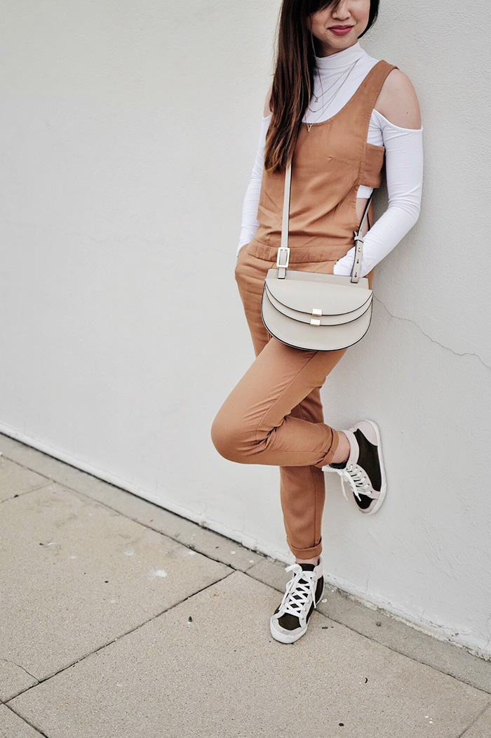 jumpsuit with hightop sneakers