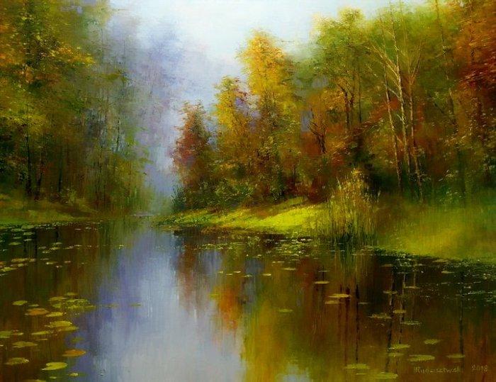 American Wallpaper Fall River Henryk Radziszewski B 1949 Landscape Painting Artists