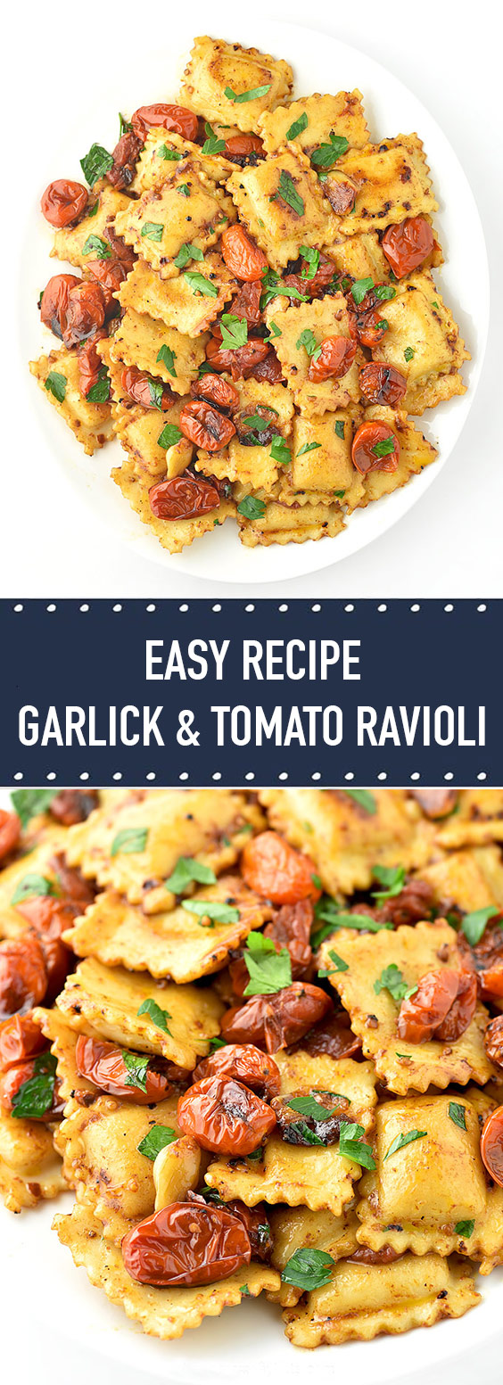 An easy to prepare ravioli recipe made with cheese ravioli combined with roasted garlic and tomatoes for one delicious dish.
