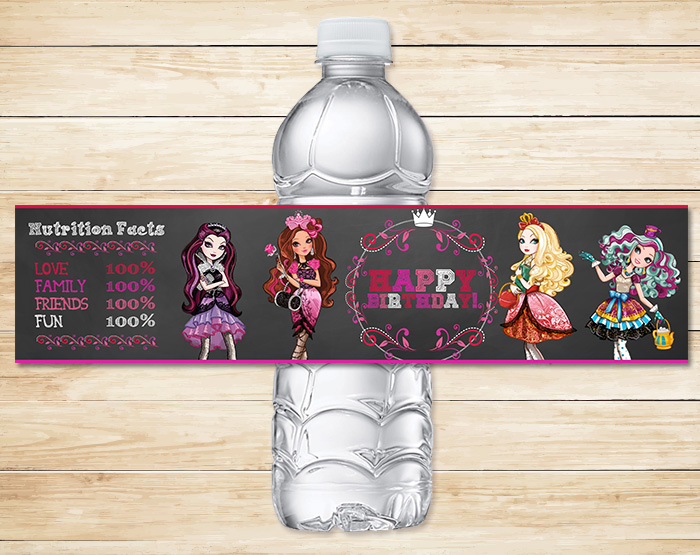 Free Printable Ever After High Water Bottle | Chalkboard Theme