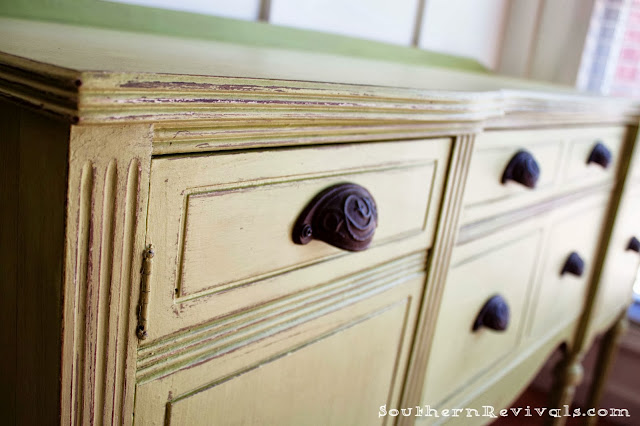 Southern Revivals | Painted Furniture: Updating A Vintage Buffet with a Pop of Color