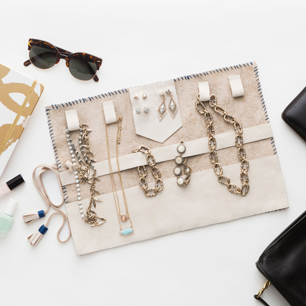 diy leather jewellery roll from Brit+Co