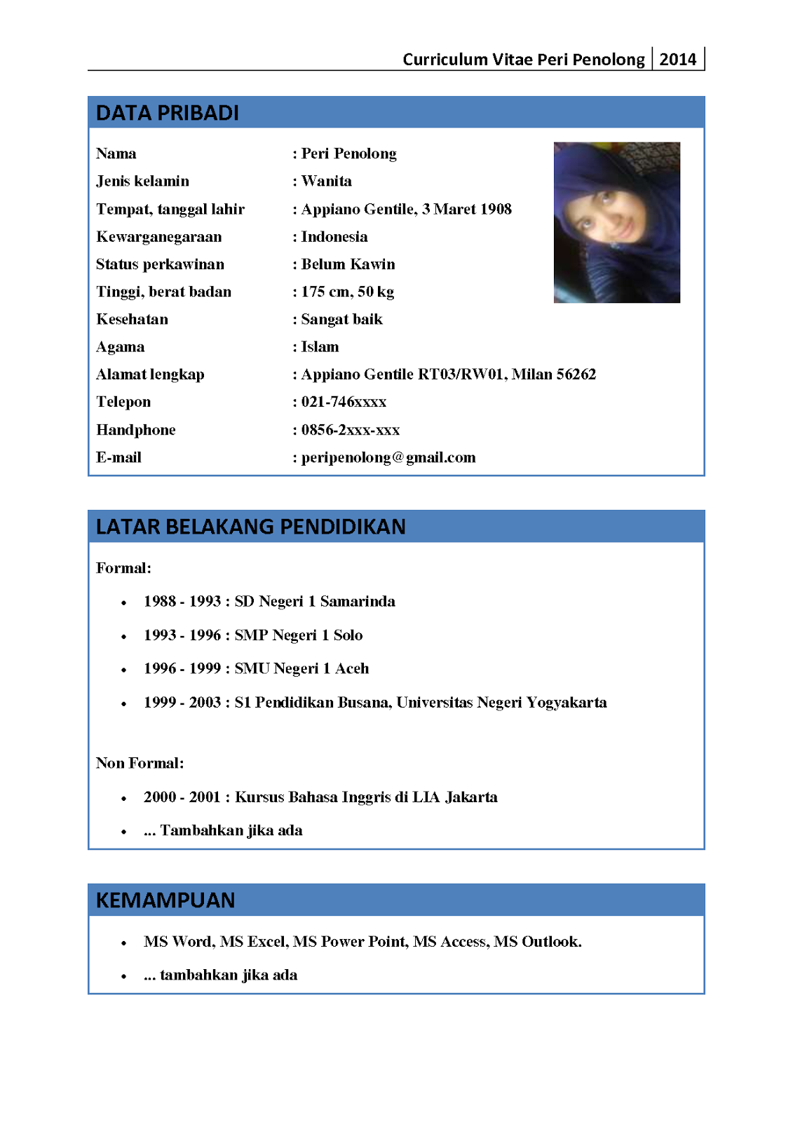 Contoh Cv Bahasa Indonesia - cv nabila