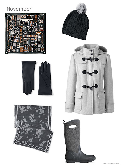 grey toggle coat with black accessories