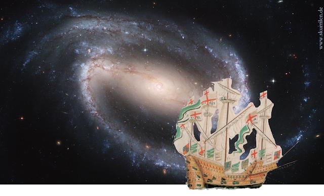 Stimmungsbild: historisches Segelschiff aus dem 16. Jahrhundert vor Galaxie NGC 1300, aufgenommen mit dem Hubble Space Teleskop.