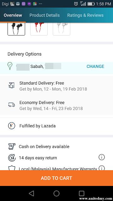 Lazada cash on delivery