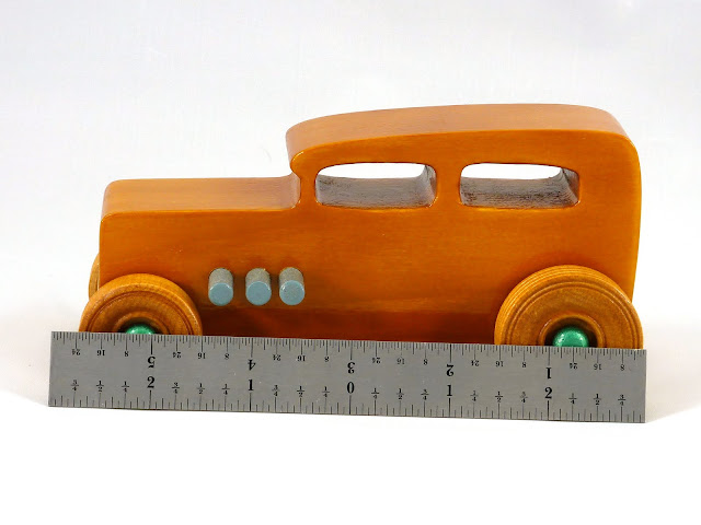 Left Side Ruler - Wooden Toy Car - Hot Rod Freaky Ford - 32 Sedan - Pine - Amber Shellac - Metallic Green - Gray
