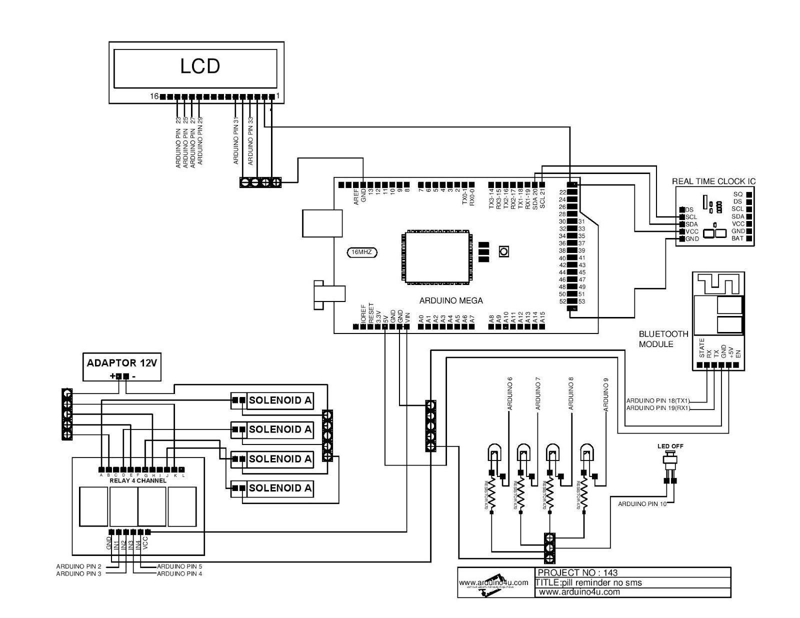 Projek Elektronik Arduino4u 143 Pil Reminder No Sms