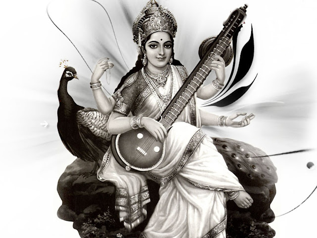 Saraswathi Mata Black & Withe Wallpaper