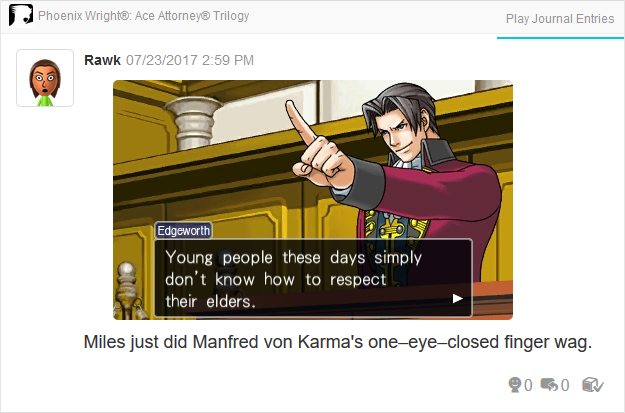 Phoenix Wright Ace Attorney Trials and Tribulations young Miles Edgeworth imitating mimicking Manfred von Karma finger wag