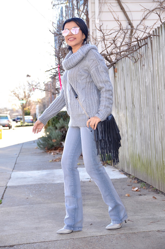Gray Jeans Outfit -Mari Estilo- Jeans, Cable Sweater, winter style, latinablogger