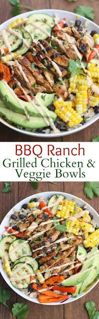 BBQ Ranch Grilled Chicken and Veggie Bowls