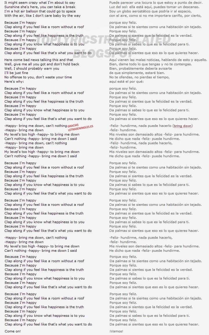 TOP LYRICS TRANSLATED CANCIONES TOP TRADUCIDAS: Pharrell