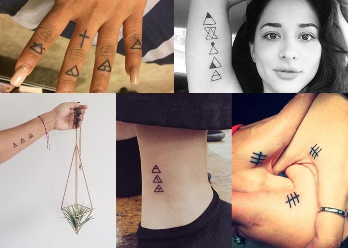 Montagem de fotos com várias tattoos gliph