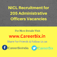 NICL Recruitment for 205 Administrative Officers Vacancies