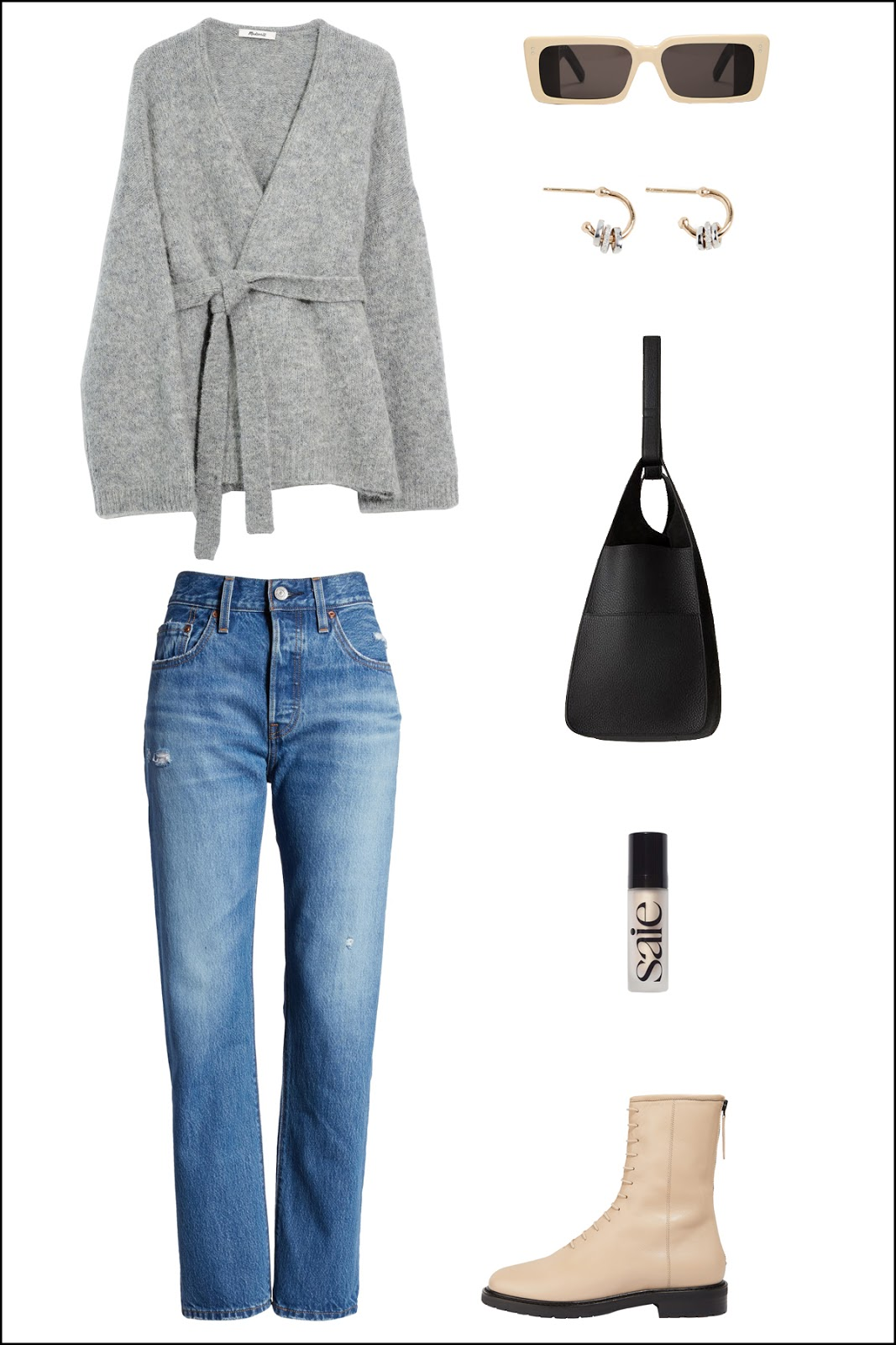 Fresh weekend outfit idea — grey wrap sweater, Gucci rectangle sunglasses, hoop earrings, Cuyana hobo bag, Levi's jeans, Saie glowy super gel, and beige lace-up boots