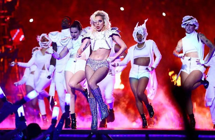 Lady Gaga Super Bowl 51 NFL Performance Half Time Show Performance in Versace