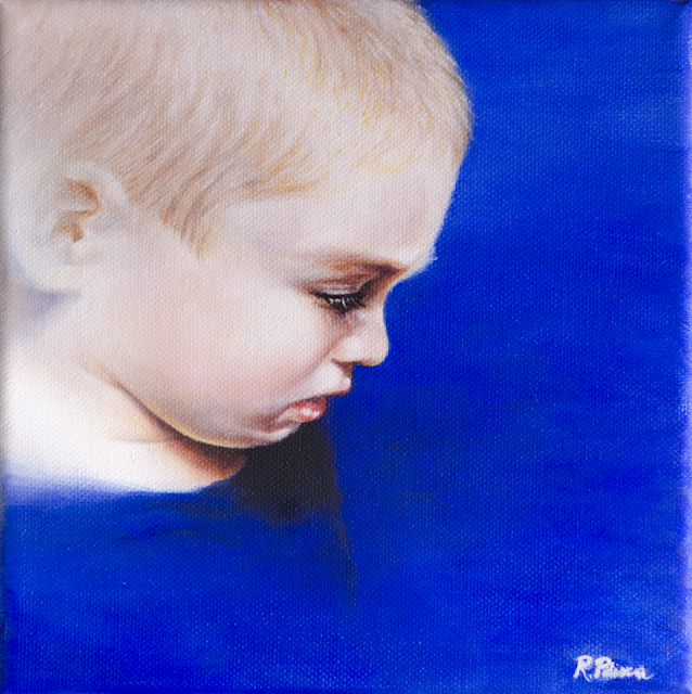 Portrait of Damiano, small scale oil painting on canvas
