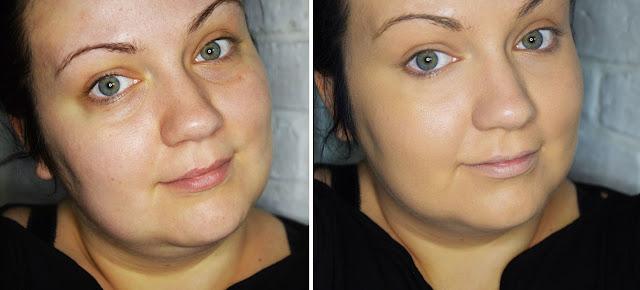 Clarins Skin Illusion nr 110 Honey przed i po użyciu podkładu. Prawda, że wygląda jak druga skóra?