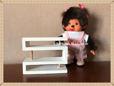 Etagères en bois faites main pour Kiki ou Monchhichi, meubles poupées, miniature, handmade