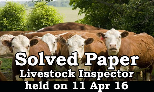 Kerala PSC - Solved Paper Livestock Inspector Grade II held on 11 Apr 2016